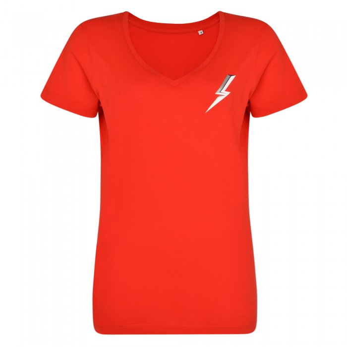 Lightning Ladies V-Neck Tee Red