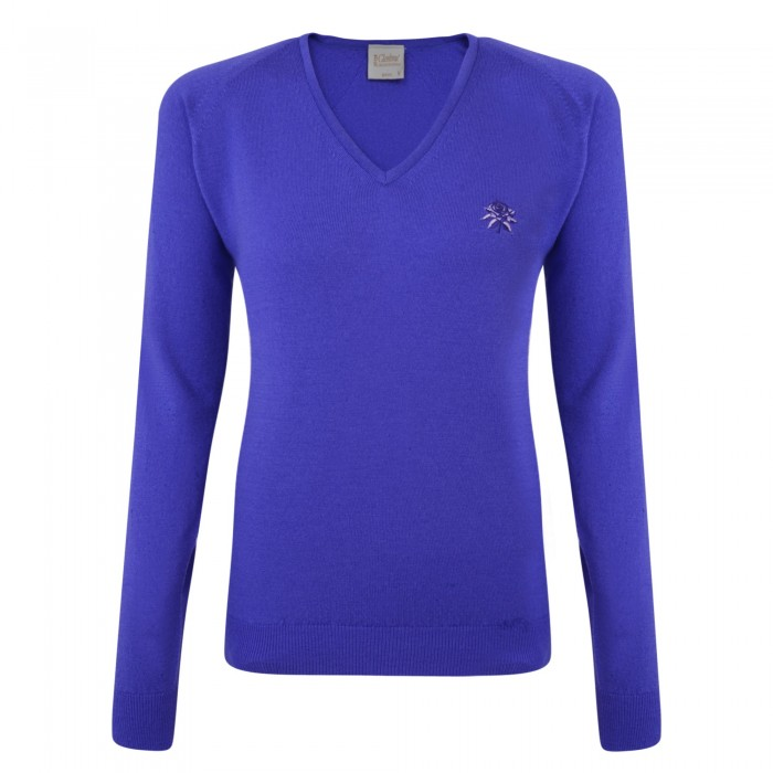 Lancashire Ladies Merino V Neck Iris